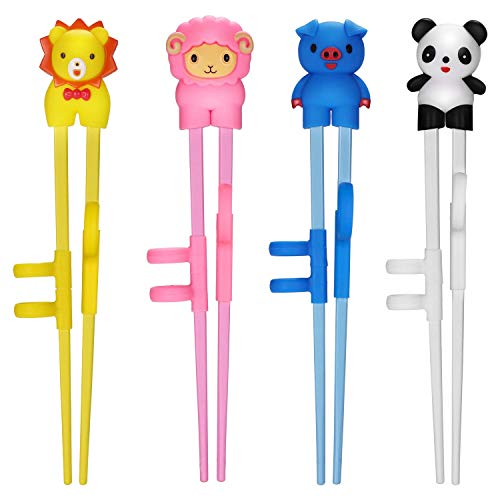 QUNHUI Training Chopsticks,Training Chopsticks with Ring Sleeve, 4-piece Children's Training Chopsticks with Auxiliary Device, Easy-to-Use Beginner Chopstick Training Device, Cute Animal Shape