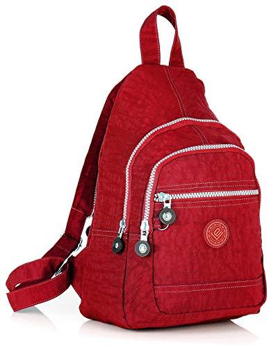 ekavale - Leichter Mini Rucksack für Mädchen Und Damen sportlicher Daypack für Freizeit Fahrrad Sport Wandern Reise 6 Farben (Rot)