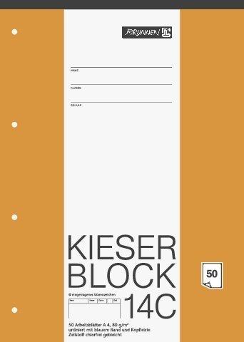 papieto Kieserblock/Schreibblock KIESER (Din A4-50 Blatt / 4-Fach gelocht) LINEATUR FREI WÄHLBAR (Lineatur 14C)