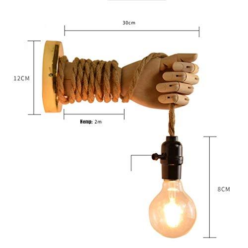 Wandlantaarn, wandlamp van kristalglas, spiegellamp, hoofdlamp, touw van hennep, vintage, creatieve verlichting, rustiek design, met wandverlichting 1 exemplaar