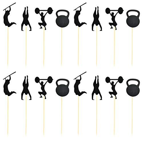 UPKOCH 48pcs black glitter gym tema cake toppers cupcake toppers addio al celibato uomini compleanno torta toppers palestra decorazioni per feste forniture