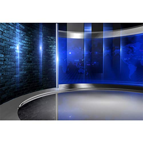 Yeele 7x5ft Blue TV Studio Interior Backdrop Television Room Media Broadcast Monitor Global News Newsman Journalism Interview Photography Background Kid Adult Artistic Portrait Photo Shoot Props