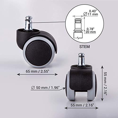 411lTJ03T4L. SL500  - - Ruedas giratorias de goma para sillas, 50mm, repuesto para sillones de oficina