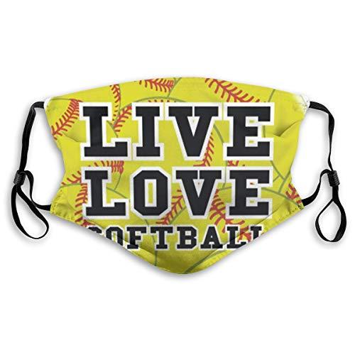 VOSGA Live Love Softball Face Mask Bandanas Face Cover Headwear Balaclavas Reusable for Dust Outdoors