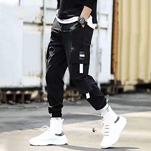 haochenli188 Pantalones con Bolsillos con Cintas para Hombre, Pantalones Harem De Carga, Pantalones Casuales De Hip Hop para Hombre, Pantalones De Moda Informales, Ropa De Calle XXXL