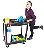 Tubstr Heavy Duty 32 x 18 inches - Shelf Utility Cart/Service Cart - Supports up to 500 lbs - Tub Carts & Deep Shelves (2 Shelf)