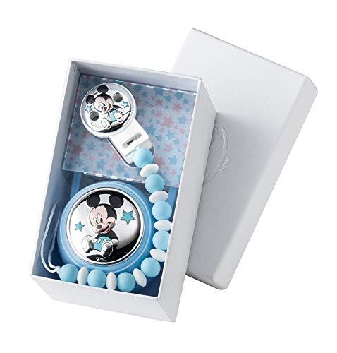 Portachupetes Personalizado Chupetero Disney plata bilaminada 1ª Ley 925 (Mickey Cadena Bolas)