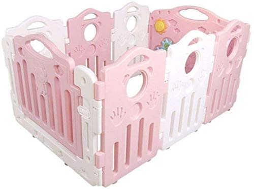 Clôture 6 + 2 Panel Game Fence Baby Crawling Home Baby Safety Toddler Indoor Toy Fence Safety (Color: Pink)