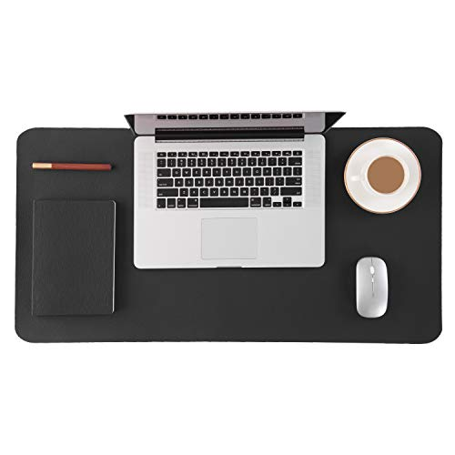 Bedsure Genuine Leather Desk Pad, Office Desk Mat Blotter on top of desks, Large Computer Desk Mat, Waterproof Non Slip Desk Pad Protector for Office and Home (Black, 17x35 inches)