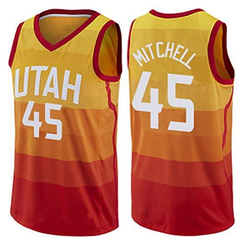 Z/A Utah Jazz Traje Jersey Donovan Mitchell No.45 Bordado De Gama Alta Artesanía Bordado del Uniforme del Baloncesto Jersey De Encargo De Bricolaje,S