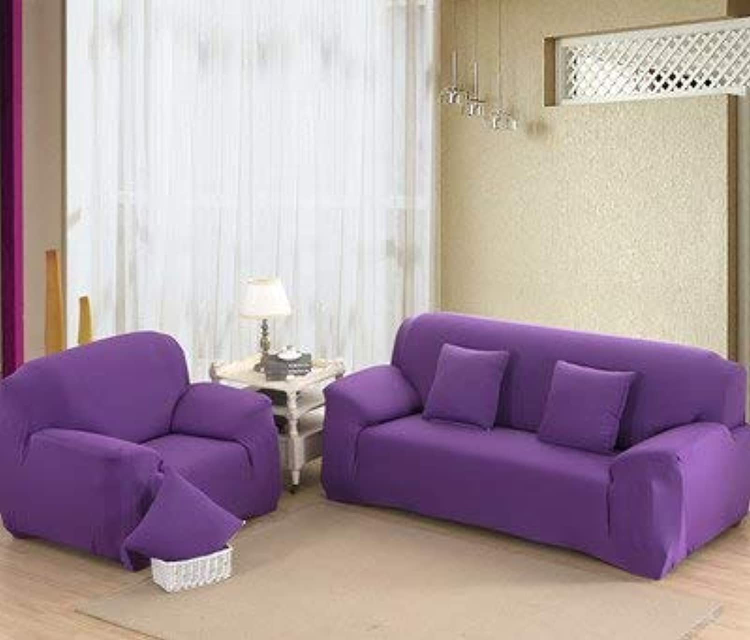 Farmerly KISS Queen Solid Sofa Cover Elastic Knitted Fabric slipcovers All-Inclusive Couch case for All Size Shape Sofa   Purple, 90-140cm