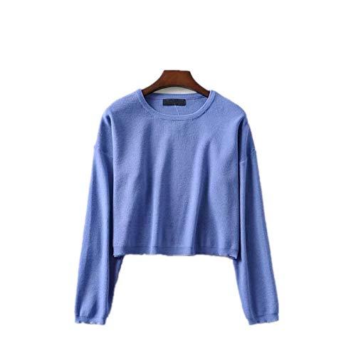 NIGHTMARE Suéter con Dobladillo asimétrico con Cuello de Capucha Grueso para Mujer, suéter de otoño, Jersey de Cuello Redondo a la Moda, suéter, Jerseys, Top