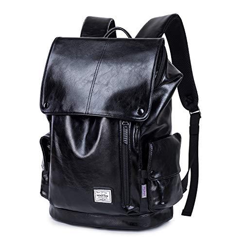 Wind Took zaino per pc portatile in PU 15.6 pollic zaino casual zaino da donna zaino lavoro uomo per scuola viaggio 1.04KG,nero