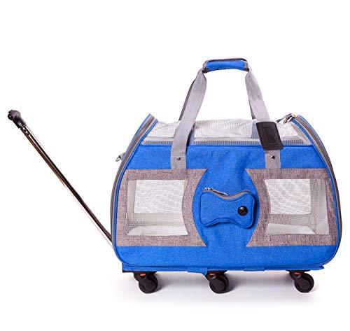 HIKEMAN Maleta con Ruedas para Mascotas, Bolsa de Viaje para Perros/Gatos con Ruedas, Bolsa de Viaje Desmontable con asa telescópica, para Mascotas pequeñas (Azul)