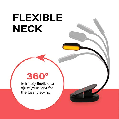 Book Light, Blue Light Blocking, Amber Clip-On Reading Light by Hooga. 1600K Warm LEDs for Reading...