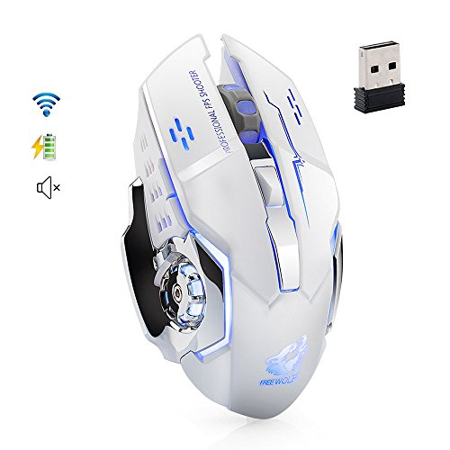 UrChoiceLtd Gaming Mouse X8 Inalámbrico 2.4GHz 1800DPI 7 Colores LED Respira Retroiluminación 6 Botones Ratones ópticos inalámbricos silenciosos y silenciosos Recargables con Receptor Nano (Blanco)