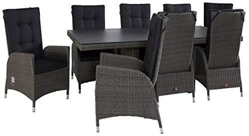 Wholesaler GmbH Barcelona Gartenmöbel Set Tischgruppe 8X Gartenstühle und Tisch aus Polyrattan grau Tischplatte aus Spraystone