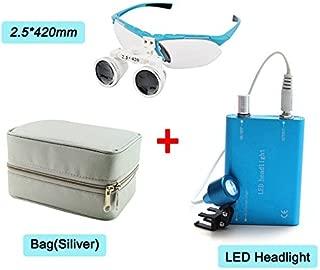 Zinnor 2.5x420mm Dental Surgical Medical Binocular Loupes Optical Glass Loupe + LED Head Light Lamp + Carry Bag (Silver)