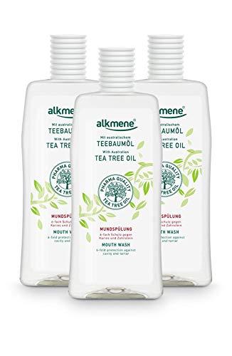 alkmene Enjuague bucal con aceite de árbol de té con protección 6 veces mayor - Protege contra la caries, los ácidos de azúcar, el sarro - Enjuague dental en paquete de 3 (3x 500 ml)