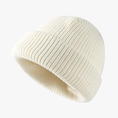 GUOQUN-SHOP Gorro Beanie de Punto cálido para Hombres Mujeres de Invierno Sombreros de Invierno Costilla y Acogedor Brazalete Plegable Caps Slouchy Clásico (Color : White, Size : One Size)