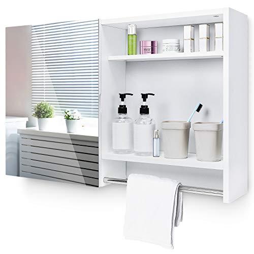 Yorbay Spiegelschrank Bad Badschrank Hängeschrank mit Rahmenloser Spiegel, Badezimmerschrank mit verstellbaren Einlegeboden und offenen Regal, Holz Weiß, 77x17x50cm(Mehrweg)