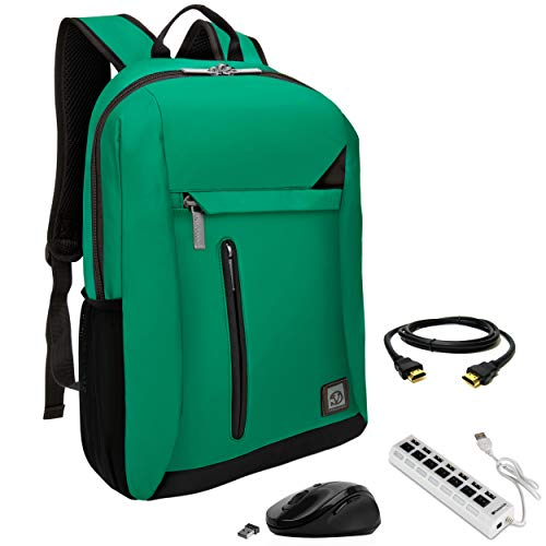 VanGoddy Jade Green Anti-Theft Laptop Backpack w/USB Hub, HDMI Cable & Mouse Suitable for Apple MacBook, Air, Pro, iPad Pro Up to 15.6inch