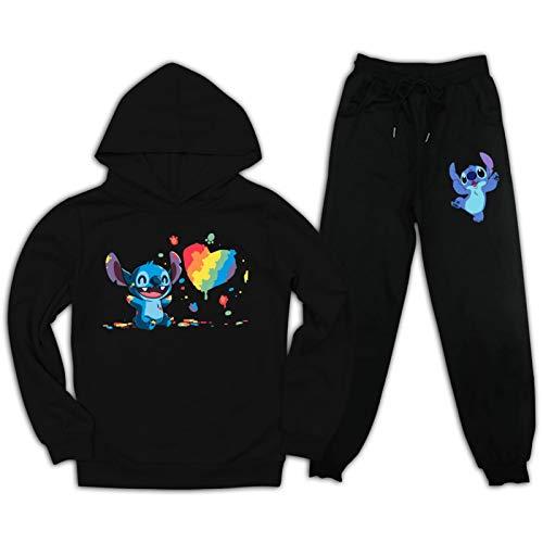 Youth L-ilo und S-titch Pullover Hoodie und Sweatpants Anzug für Jungen Mädchen 2 Stück Outfit Mode Sweatshirt Set Gr. M, Schwarz