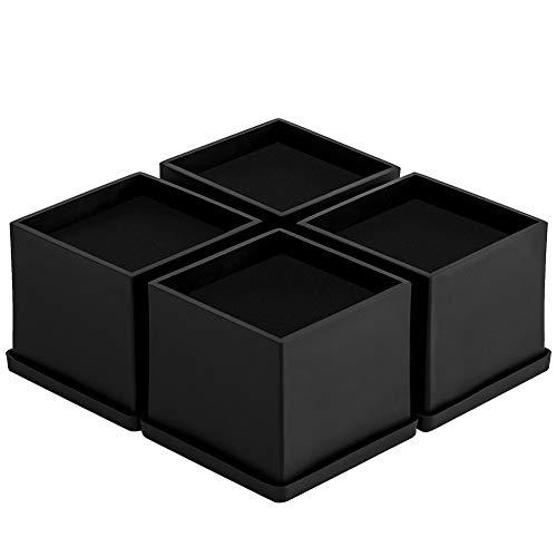 Uping Rehausseur Pieds de Lit Rehausseurs Meuble, Augmenter Hautuer de 5,1CM (Noir, Lot de 4)