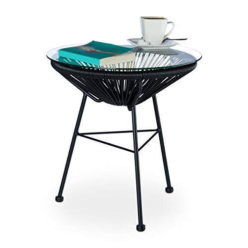 Relaxdays Table ronde basse appoint extérieur jardin balcon RAYA plateau verre design HxD: 46 x 55 cm, noir