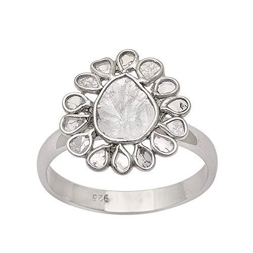 2.50 CTW Anillo de polki de diamantes florales de diseñador eduardiano, plata de ley 925