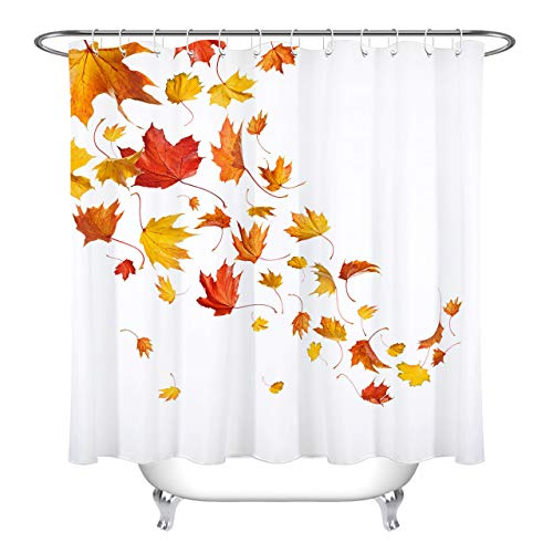 LB Fall Falling Maple Leaf Shower Curtain Autumn Theme Red Orange Yellow Concise White Shower Curtains for Bathroom with Hooks 72x72 inch Waterproof Polyester Fabric