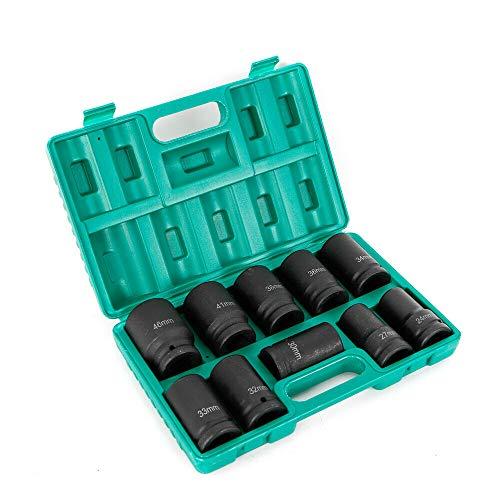 Kraft-Steckschlüssel-Einsatz-Satz Sechskant | 10-tlg. | 24-46mm (1')| Chrome-molybdenum steel