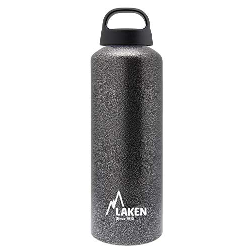 Laken Classic Botella de Agua Cantimplora de Aluminio con Tapón de Rosca y Boca Ancha, 0,75L Gris