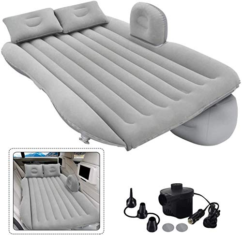 DHARU EASYWAY High Quality Car Air Mattress With Electric Pump & 2 Air Pillow Quick Inflatable Back Seat Bed Travel,Trips,Camping,Picnic,Pool & Beach Universal Fit