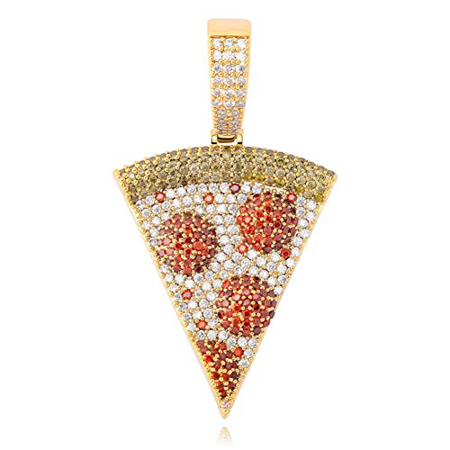 Iced Out Pizza Pendant Necklace Full Paved AAA+ Cubic Zircon Gold Silver Color Hip Hop Jewelry Gift for Men Women (Gold)