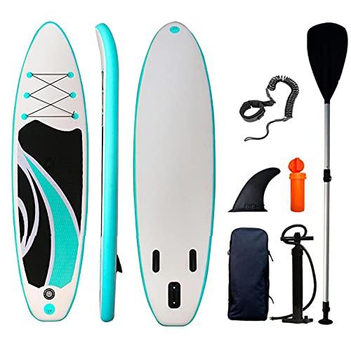 XRDSHY Paddle Surf Hinchable 150 kg Tabla de Padel Surf Hinchable Antideslizante Tabla Padel Surf Kit de Tabla de Surf con Paleta, Bomba y Mochila para Adultos,Cyan