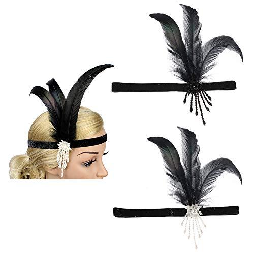 Auidy_6TXD 2 Stück 1920s Stirnband Feder Flapper Haarband, Kostüm Accessoires für Damen Braut Karneval Kostüm Party Tanzabend