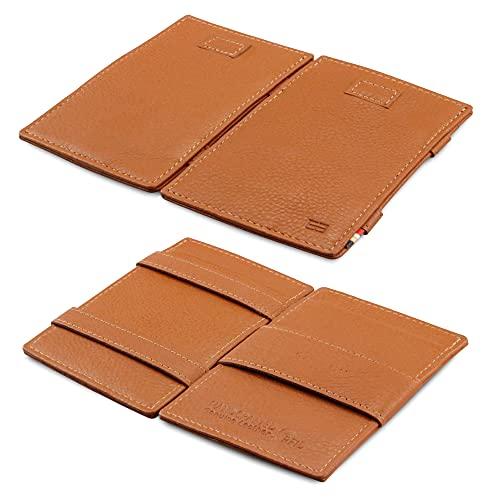 Garzini Magic Wallet, RFID Geldbeutel für Herren aus echtem Leder mit Platz für 12 Karten, Mini Geldbörse als Geschenk für Männer, mit Ausweisfenster, Cognac Brown