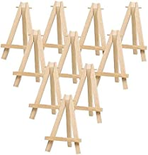 LinaLife 10 Pack Mini Wood Display Easel (5 Inch) Wooden Artist Easel Triangle Cards Stand Photo Display Wedding Business ...