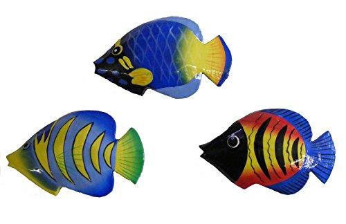 One World is Enough Commercio Equo Solidale Dipinto A Mano Colorato Balinese Pesce Che Bacia Calamite da Frigo (Confezione di 3)
