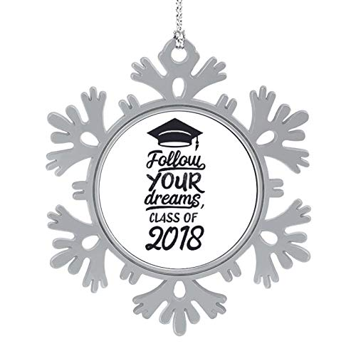 Blafitance Christmas Ornaments 2020, 3'' Snowflake Meatal Ornament Follow Your Dreams, Class of 2018 Home Hanging Decor for Xmas Tree Christmas Tree Decorations
