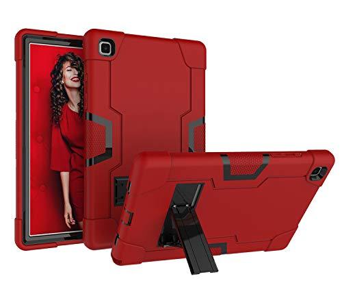 Funda resistente para Galaxy Tab A7 de 10.4 pulgadas 2020, resistente a prueba de golpes con función atril para Galaxy Tab A7 de 10.4 pulgadas 2020 SM-T500 SM-T505 SM-T507 (rojo+negro)