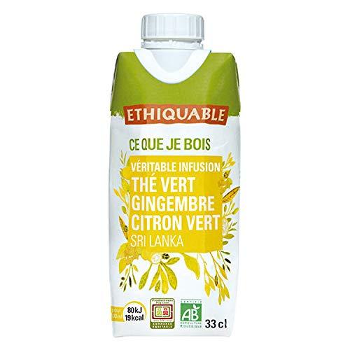 Ethiquable - Thé Vert Glacé Gingembre-Citron Vert 33 Cl - Lot De 5 - Vendu Par Lot - Livraison Gratuite En France