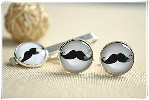 Little Love - Set di gemelli da barba e fermacravatta, con fermacravatta, accessori da uomo personalizzati