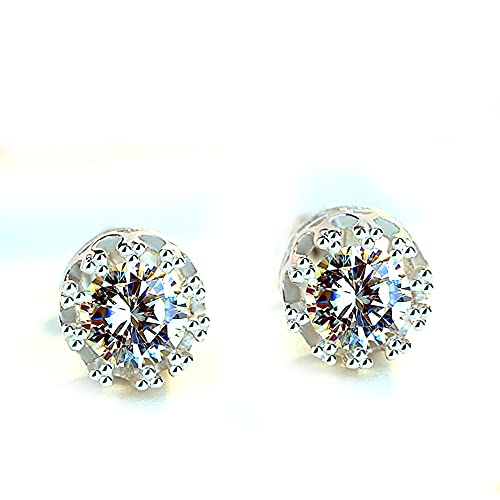 RSHJD 925 Plata esterlina con Diamantes Joyas, Personalidad Zircon Crown Six Dongs Pendientes de Moda para Mujeres y niñas,Plata