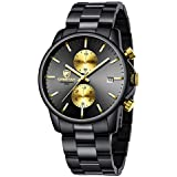 GOLDEN HOUR Men's Watches with Stainless Steel and Metal Casual Waterproof Chronograph Quartz Watch, Auto Date in Gold Hands