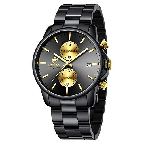 GOLDEN HOUR Reloj de Cuarzo para Hombre de Negocios de Moda con cronógrafo Impermeable de Acero Inoxidable para Hombre, Fecha automática (Black/Gold Dial)