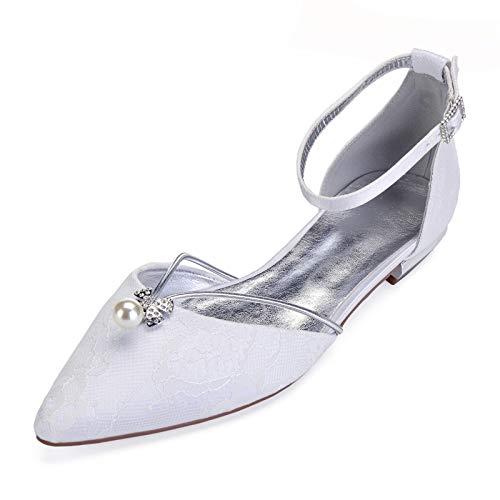 AQTEC Donna Punta a Punta Pizzo di Raso Ballerine Classica Piani con Cinturino alla Caviglia Moda Scarpe da Sposa,Bianca,43 EU