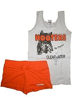 Hooters New Girl Uniform Tank/Shorts Florida Small Halloween Costume White Orange