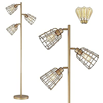 Modern Floor Lamp for Living Room Bright Lighting Tall Stand Up Lamp Farmhouse Rustic Industrial Gold Tree Floor Lamps for Bedrooms, Office with Reading Light Golden Standing Lamp